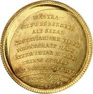 Nr. 1062. Schweden. Friedrich I., 1720-1751. Goldmedaille zu 6 Dukaten 1746 auf die Geburt seines Enkels, Prinz Gustav, aus dem Gold der Grube Västra Silvberg. Unikum. Fast Stempelglanz. Taxe: 9.000 Euro.
