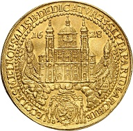 Lot 1377. Salzburg. Paris, Count of Lodron, 1619-1653. 10 ducats 1628 on the consecration of the cathedral. Extremely rare. Extremely fine. Estimate: 12,500 euros