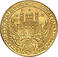 Nr. 1377. Salzburg. Paris, Graf von Lodron, 1619-1653. 10 Dukaten 1628 auf die Domweihe. Äußerst selten. Vorzüglich. Taxe: 12.500 Euro.