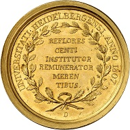 Lot 1436. Baden-Durlach. Karl Friedrich, 1738-1811. Gold prize medal 1807 of the University of Heidelberg. Extremely rare. Extremely fine. Estimate: 7,000 euros