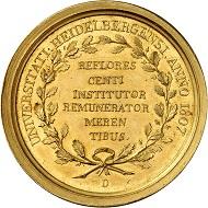 Nr. 1436. Baden-Durlach. Karl Friedrich, 1738-1811. Goldene Prämienmedaille 1807 der Universität von Heidelberg. Äußerst selten. Vorzüglich. Taxe: 7.000 Euro.
