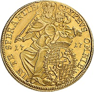 Nr. 1496. Bayern. Maximilian II. Emanuel, 1679-1726. Doppelter Max d'or 1717. Äußerst selten. Fast vorzüglich. Taxe: 17.500 Euro.