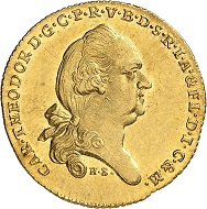 Lot 1529. Bavaria. Karl Theodor, 1777-1799. Ducat 1793 from Danube river gold. Extremely rare. Extremely fine to FDC. Estimate: 15,000 euros