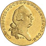 Nr. 1529. Bayern. Karl Theodor, 1777-1799. Donaugolddukat 1793. Äußerst selten. Vorzüglich bis Stempelglanz. Taxe: 15.000 Euro.