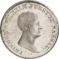 Lot 1840. Nassau. Friedrich August zu Usingen, 1803-1816. Konventionstaler 1815, joint coinage on the visit of the mint of Ehrenbreitstein. First strike. Almost FDC. Estimate: 45,000 euros