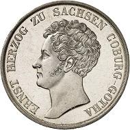 Lot 2074. Saxe-Coburg-Gotha. Ernst I, 1826-1844. Konventionstaler 1835, Gotha. First strike, almost FDC. Estimate: 12,000 euros
