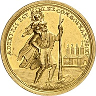 Lot 2125. Speyer. Franz Christoph, Freiherr von Hutten zu Stolzenberg, 1743-1770. Gold medal 1761 in the weight of 8 ducats on his elevation to cardinal. Unique(?). Extremely fine. Estimate: 12,000 euros