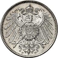 Lot 2425. German Empire. 1 mark 1891 D. Almost FDC. Estimate: 6,000 euros