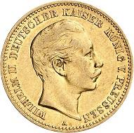 Nr. 2805. Deutsches Kaiserreich. Preußen. Wilhelm II., 1888-1918. 10 Mark 1889. Sehr selten. Sehr schön / Vorzüglich. Taxe: 5.000 Euro.