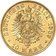 Lot 2805. German Empire. Prussia. Wilhelm II, 1888-1918. 10 marks 1889. Very rare. Very fine / Extremely fine. Estimate: 5,000 euros