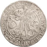 Los 1859: Corvey-Abtei. Reinhard II. von Buchholz, 1555-1585. Taler (24 Groschen) 1558, Höxter. Sehr schön. Schätzpreis: 15.000 Euro.