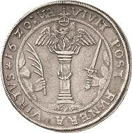 Los 2040: Reuss-Jüngere Linie – Gera. Heinrich der Jüngere (Posthumus), 1572-1635. Doppeltaler 1620, WA-Saalfeld. Vermutlich das einzige im Handel existierende Exemplar. Kl. Schrötlingsfehler, sehr schön. Schätzpreis: 7.000 Euro.