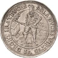 Los 2166: Sachsen-Kurlinie. Johann Georg I., (1611-) 1615-1656. Dicker Doppeltaler 1611, (Herbart von Lünen). Auf seinen Regierungsantritt 1611, sogenannter Affentaler. Fast vorzüglich. Schätzpreis: 40.000 Euro.