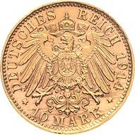 Los 2846: Sachsen-Meiningen. Georg II., 1866-1914. 10 Mark 1914 D. Seltenes Exemplar vom Erstabschlag. Fast vorzüglich/vorzüglich-Stempelglanz. Schätzpreis: 5.000 Euro.