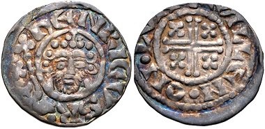 Lot 691: Plantagenet. John, 1199-1216. AR Penny, Short Cross type, class VIa2, circa 1210-1213, London mint. Ex 1970 Gisors (Eure) Hoard. VF. Estimate: 100 USD.