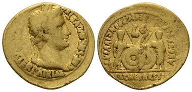 Lot 579: Octavian as Augustus, 27 BC-14 AD. Aureus, circa 2BC-4 AD, Lugdunum. Smallest traces of mounting, weakly struck, otherwise very fine. Starting bid: 700 GBP.