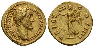 Lot 628: Antoninus Pius, 138-161. Aureus, circa 156-157. About extremely fine/good very fine. Starting bid: 1400 GBP.