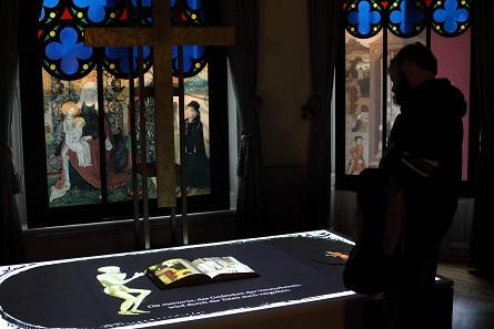 """Animation zur Ausstellung im """"Kirchenraum"""". Foto: Thomas Ernst, Winterthur."""