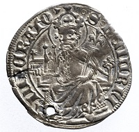 Basel, Stadt. Plappart (1425/26). Rs. Heinrich II. mit Kirchenmodell. Münzkabinett Winterthur, Inv.Nr. S 195. Foto: Jürg Zbinden, Bern.