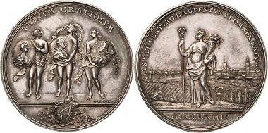 Silbermedaille Sachsen 1764, Auf den Wohlstand Sachsens, von J. L. Oexlein.