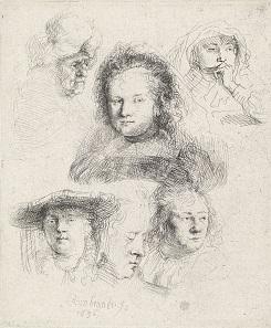 Rembrandt Harmenszoon van Rijn, Sechs Kopfstudien: Saskia und eine unbekannte Person, 1636. Hamburger Kunsthalle, Kupferstichkabinett. Foto © bpk, Hamburger Kunsthalle, Foto: Christoph Irrgang.