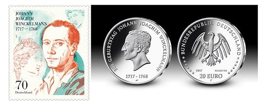 Das neue Sonderpostwertzeichen und die 20-Euro-Gedenkmünze auf den 300. Geburtstag Johann Joachim Winckelmanns.