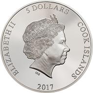 Cook Islands / 5 Dollars / Silver .999 / 1 oz / 38.61 mm / Mintage 999 / Design CIT