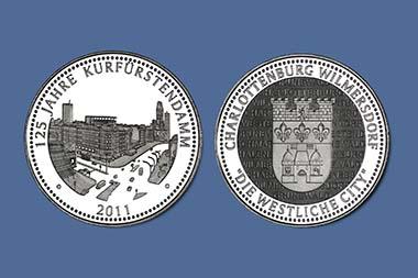 Medaille 125 Jahre Kurfürstendamm. Durchmesser 40 mm; Legierung: Kupfer / Nickel; Qualität: Spiegelglanz; Prägestätte: Münze Berlin; Ausgabejahr: 2011.