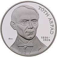 Hungary - 5000 HUF - 925 silver - 31.46 g - 38.61 mm - 125th Anniversary of Birth of Árpád Tóth - 2,000 (BU) and 6,000 (proof) - M. Csikai.