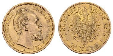 Los 692: Kaiserreich Goldmünzen, Friedrich I., 1871-1904. 20 Mark. Gutes vorzüglich. Ausruf: 3.500 Euro.