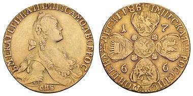 Los 1173: Russland. Katharina II. die Große, 1762-1796, 10 Rubel 1766. Interessante Stempelvariante, attraktive Goldpatina, fast vorzüglich. Ausruf: 8.000 Euro.