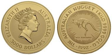 Los 1729: Australien. 3.000 $, 1992. 1 Kilogramm Feingold, gekapselt. Ausruf: 40.000 Euro.