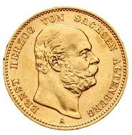 Sachsen-Altenburg. Ernst, 1853-1908. 20 Mark 1887 A. Jaeger 269. Vorzüglich/Stempelglanz.
