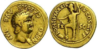 Los 95: Nero, 63-64. Aureus, Rom. Sehr schön. Taxe: 1.200,00 Euro.