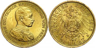 Los 626: Wilhelm II. 20 Mark, 1915. Randfehler, vorzüglich. Taxe: 1.200,00 Euro.
