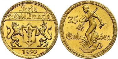 Los 662: Danzig. 25 Gulden, Gold, 1930. Kratzer, vorzüglich – Stempelglanz. Taxe: 1.400,00 Euro.