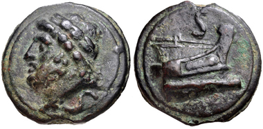 Lot 487: Anonymous, circa 225-217 BC. Aes Grave Semis. Rome mint. VF. Estimate: 1000 USD.
