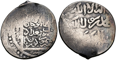 Lot 850: Islamic, Persia (Post-Mongol). Timurids. Timur (Tamerlane). AH 771-807 / AD 1370-1405. AR Tanka. Citing Chagatai khan Mahmud. Baghdad mint. (Dated AH 795; AD 1393). From the BRN Collection. Very rare. VF. Estimate: 300 USD.