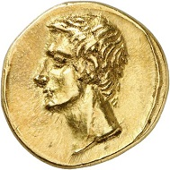 295 / Lot 661: Polemon I of Bosporus for Augustus. Gold stater, year 289 (= 9/8 BC). From the collection of Grand Duke Alexander Mikhailovich Romanov. Extremely rare. Almost FDC showpiece. Estimate: 60,000,- euros. Hammer price: 80,000,- euros.