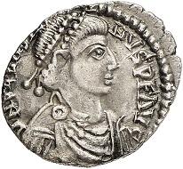 295 / Nr. 1155: Sebastianus, 412-413. Siliqua, Arelate. Aus Auktion Tkalec & Rauch (1985), Nr. 424. Äußerst selten. Fast vorzüglich. Taxe: 12.500,- Euro. Zuschlag: 65.000,- Euro.