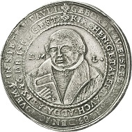 297 / Nr. 3360: Eisleben. Schautaler 1624 auf das Jubiläum der Anwesenheit Luthers in Eisleben von 1524. Äußerst selten. Gutes sehr schön. Taxe: 12.500,- Euro. Zuschlag: 20.000,- Euro.