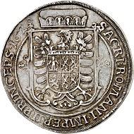 296 / Nr. 2751: Wallenstein. Albrecht, 1623-1634. Reichstaler 1629, Jitschin. Aus Sammlung Stricker. Sehr selten. Sehr schön bis vorzüglich. Taxe: 7.500,- Euro. Zuschlag: 26.000,- Euro.