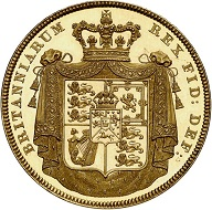 298 / Nr. 4349: Großbritannien. George IV., 1820-1830. 5 Pounds 1826, London. Nur 150 Exemplare geprägt. Aus Sammlung Phoibos. PCGS PR64 Deep Cameo. Polierte Platte, minimal berührt. Taxe: 25.000,- Euro. Zuschlag: 200.000,- Euro.
