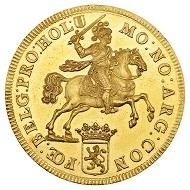298 / Nr. 4412: Provinz Holland / Niederlande. 10 Dukaten 1721. Goldabschlag von den Stempeln des Silberdukatons. Aus Sammlung Phoibos. Sehr selten. Vorzüglich bis Stempelglanz. Taxe: 20.000,- Euro. Zuschlag: 180.000,- Euro.