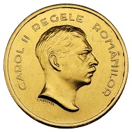 298 / Nr. 4441: Rumänien. Karl II., 1930-1940. 100 Lei 1939, Bukarest, auf den 100. Geburtstag von Karl I. Aus Sammlung Phoibos. Äußerst selten. Vorzüglich. Taxe: 20.000,- Euro. Zuschlag: 52.500,- Euro.