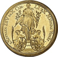 298 / Nr. 4971: Nürnberg. 5 Dukaten 1698 auf die Jahresfeier des Frieden von Rijswijk. Aus Sammlung Phoibos. Sehr selten. PCGS MS62. Fast Stempelglanz. Taxe: 10.000,- Euro. Zuschlag: 55.000,- Euro.