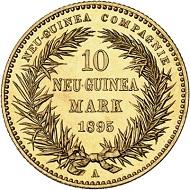 298 / Nr. 5859: Deutsches Kaiserreich. 10 Neu-Guinea Mark 1895. J. 708. Aus Sammlung Phoibos. Nur 2.000 Stück geprägt. Stempelglanz. Taxe: 30.000,- Euro. Zuschlag: 75.000,- Euro.