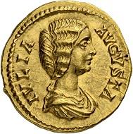 Lot 158: Roman Empire. Julia Domna. Wife of Septimius Severus, 193-211. Aureus 196/211, Rome. Hammer price: SFr 30'000.