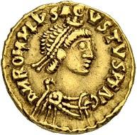 Lot 187: Romulus Augustus. Tremissis 475/476, Milan. Hammer price: SFr 60'000.