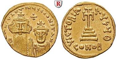Byzanz. Constans II. und Constantinus IV., 654-668. Solidus 654-659, Constantinopel. Fast vorzüglich. Schätzung: 600 Euro.